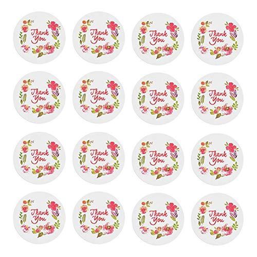 Lumanuby 200x Bunt Blume Geschenkanhänger für Geschenke DIY/Dessert-Paket 'Thank You' Dichtungs Sticker Rund, Aufkleber Serie Blume, Dessert