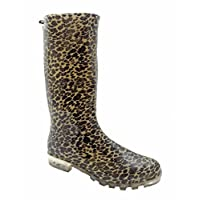 P134 LEOPARD 5 FUNKY WOMENS LADIES GIRLS WELLIES WELLIE BOOTS RAIN SNOW SIZE 6 *UK SELLER*