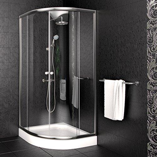 Duschkabine Viertelkreis inkl. Duschtasse + Duschabtrennung