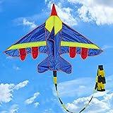 ECMQS 1 Stück Kinder Fliegen Kite Neuheit Flugzeug Form Drachen Outdoor Kinder Entwicklungsspielzeug Kinder Kind Festival Geschenk Spielzeug(ohne Drachenschnur) (Blau)