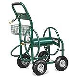 COSTWAY Schlauchwagen Gartenschlauchwagen, Schlauchaufroller mit Korb, Schlauchhalter Metall, Schlauchtrommel Grün