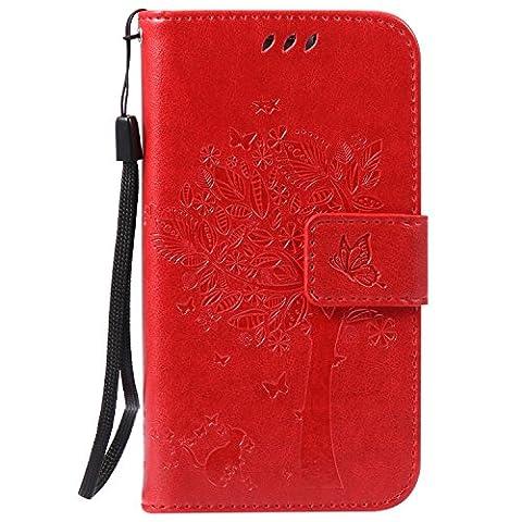 Mokyo Samsung Galaxy S5 Mini Hülle [mit Frei Stylus Stift],Folio PU Leder Brieftasche Klapphülle mit Standfunktion/Magnetverschluss/Kartenfächer Handyhülle Geprägt Katze und Baum Premium Muster Weich Buchstil Dünn Schale Tasche für Samsung Galaxy S5 Mini -
