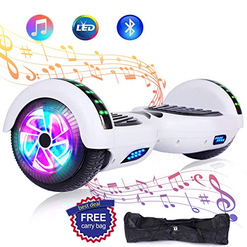 "Huanhui Hoverboard, 6,5"" Overboard Elettrico, Self Blance Scooter 2 * 300W Motore Glyboard Elettrico Smart Self Balance Board, Luce a LED, Bianca"