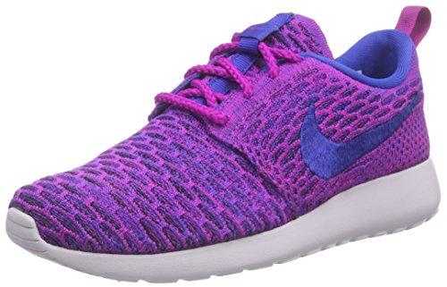 Nike Roshe Flyknit, Chaussures de running entrainement femme Violet - Violett (Fuchsia Flash/Gm Royal-Blk-Vnc 501)