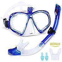 meilianeu Schnorchelset Schnorchelmaske mit Anti-Fog Taucherbrille und Dry Schnorchel inkl. Ausblasventil und Anti-Fog Tachermaske Schnorchelset für Erwachsene und Kinder