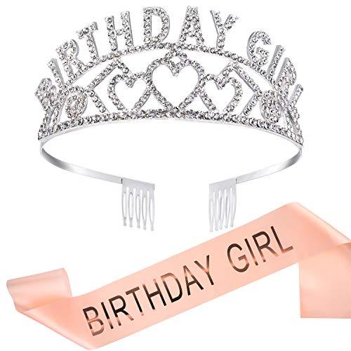 Geburtstag Mädchen Glitter Krone Strass Kristall Dekor Stirnband mit Geburtstag Mädchen Schärpe (Rose gold)