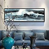 Limiz Wandbild Sofa Wandbilder Moderne chinesische Landschaftsmalerei dekorative Malerei chinesische Malerei Studie Schlafzimmer Gemälde Wohnzimmer (Color : G, Size : 40 * 120CM)