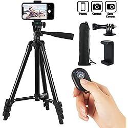 Hitchy Trepied Smartphone, Trepied Iphone 42 inch 106cm Aluminium Léger, Trepied Appareil Photo pour iphone/GoPro/Camera avec Télécommande Bluetooth, Porte-téléphone et Adaptateur GoPro (Noir)