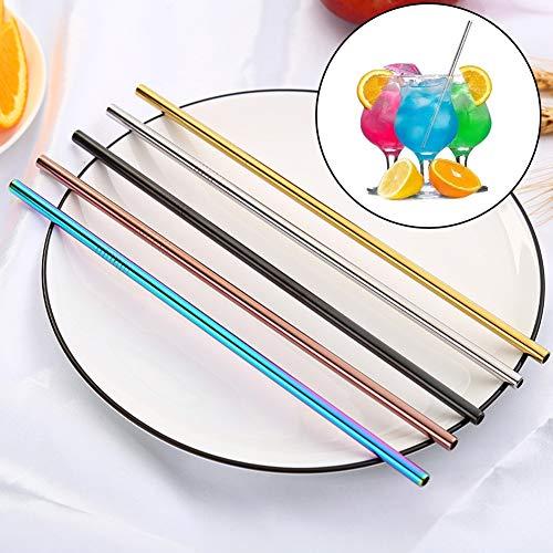 1 paille créative colorée en acier inoxydable réutilisable en métal - Pailles droites arc-en-ciel colorées pour fête, maison, gobelets, tasses, tasses, tasses, tasses, tasses, etc. Couleur 1#