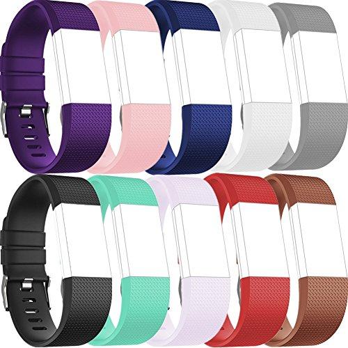 Greatfine Replacement Wrist Band for Fitbit Charge 2 Armband Sport Smart Watch Silikon Strap Fitness Tracker Uhrenarmband Ersatzband Bügel für Fitbit Charge 2 (10Pcs)