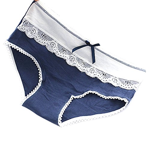 LUFA Bordado de encaje de algodón sin costura Briefs mujeres bragas bajo cintura ropa interior triangular Color aleatorio
