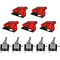 XCSOURCE 5pcs 12V SPST LED illuminato 20A 3 pin ON / OFF bilanciere interruttore a levetta di copertura rossa auto per TE459