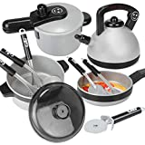 YAKOK Plastik Kinderküche Zubehoer Geschirr, Kochutensilien Set Kinder, Kochgeschirr Kinder, Kuchenspielzeug Geschirr Kinderküche für Kinder Kleinkinder ab 3-7 Jahre