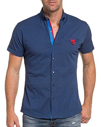 BLZ jeans - Chemisette homme bleu à motifs et bouton pression Bleu