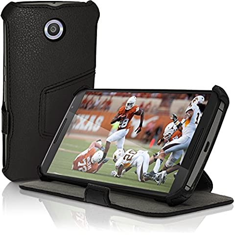 igadgitz Premium Negro PU Cuero Funda Folio Carcasa para Motorola Google Nexus 6 XT1100 XT1033 Piel Case Cover con Soporte + Auto Sleep/Wake + Protector Pantalla