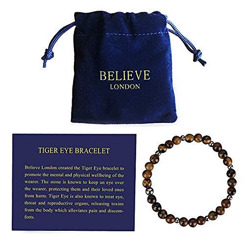 Believe London Tiger Eye Armband mit Schmucktasche & Bedeutung Karte | Stark elastisch | Kostbare Natursteine   Crystal Healing Edelstein Männer Frauen Meditation (6.5 Inch Länge Armband) -