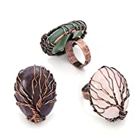 Top Plaza Handmade Retro Vintage Copper Wire Wrapped Tree of Life Oval Gemstone Healing Crystal Adjustable Ring Bronze Band Size 6 7 8(Amethyst+Rose Quartz+Green Aventurine)