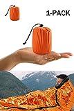 Shayson Sacco a Pelo d'Emergenza,Coperta di Sopravvivenza Riutilizzabile,Isolamento Termico Esterno Arancione Interno Rinfrangente 1 pacchi