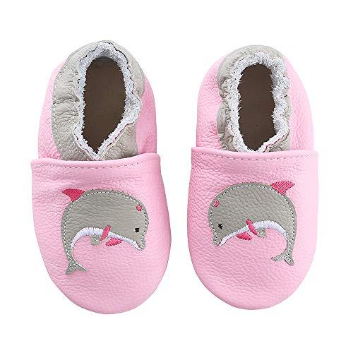 koshine Weiches Leder Krabbelschuhe Baby Schuhe Kinder Lauflernschuhe Hausschuhe 0-3 Jahre (12-18 Monate, Delfin)