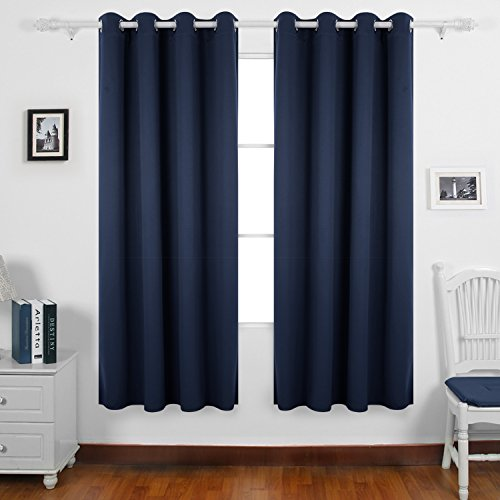 Deconovo tende oscuranti termiche isolanti con occhielli per soggiorno 100% poliestere blu marine 135x240 cm due pannelli