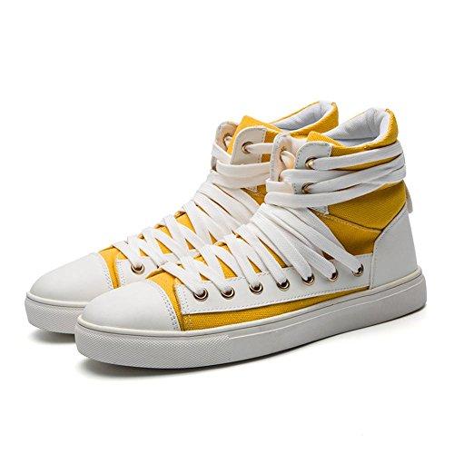 Scarpe piatte Scarpe di tela scarpe sportive Scarpe da corsa Scarpe da uomo Assorbimento degli urti traspirante High-top Sport allaria aperta Usura antiscivolo Yellow
