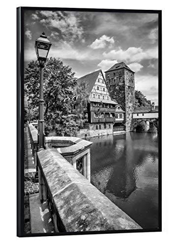 artboxONE Poster mit schwarzem Rahmen 30x20 cm Städte NÜRNBERG Blick von der Maxbrücke zum Henkersteg | Monochrom