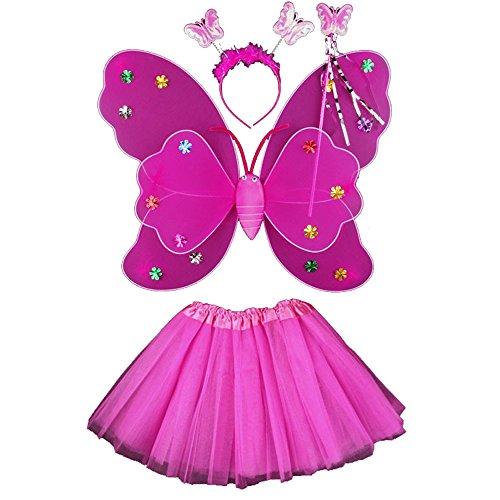Cheerlife Led Schmetterling Kostüm für Mädchen - 4-teiliges Set - Schmetterlingsflügel, Tutu, Zauberstab und Stirnband Fee Kostüm (Tutu Fee Kostüm Rosa)