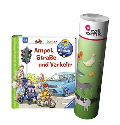 Ravensburger Junior Buch 2-4 Jahre | Ampel, Straße und Verkehr + Kinder Bauernhof Tiere Poster