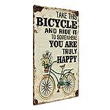 PHOTOLINI Blechschild Vintage Happy 30x40 cm Metallschild Spruch Fahrrad Typografie Nostalgieschild