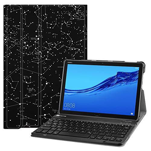 Fintie Huawei MediaPad M5 Lite 10 Bluetooth QWERTZ Tastatur Hülle - Ständer Schutzhülle mit Magnetisch Abnehmbarer Drahtloser Deutscher Bluetooth Tastatur für Huawei M5 Lite 10.1 Zoll, Sternbild