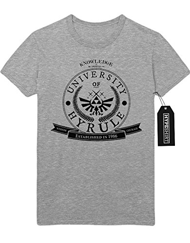 "T-Shirt The Legend of Zelda ""HYRULE UNIVERSITY ESTABLISHED IN 1986"" Z100028 Grau"