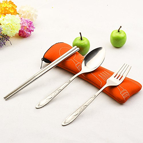 ZycShang 3Pcs Portable Environmental Protection Stainless Steel Cutlery, Contains Chopsticks Fork Spoon (Orange bag)