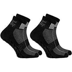 2 pares de calcetines Antideslizantes Negros ABS ideal para los Deportes:Yoga, Fitness, Pilates, Artes Marciales, Danza, Gimnasia, Trampolín Tamaños 36-38, Algodón Respirable, comodidad para los pies