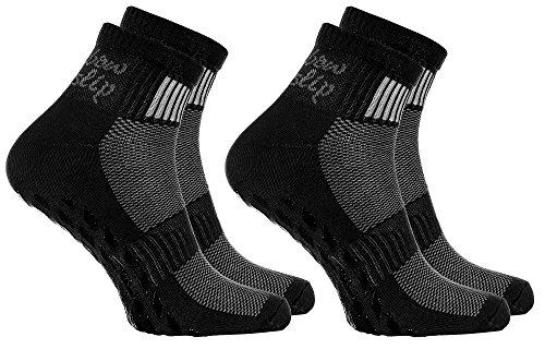 2 Paar schwarze Anti-Rutsch-Socken mit ABS-System, ideal für solche Sportarten,wie Joga,Fitness,Pilates,Kampfkunst,Tanz,Gymnastik,Trampolinspringen.Größen von 44 bis 46,atmende Baumwolle