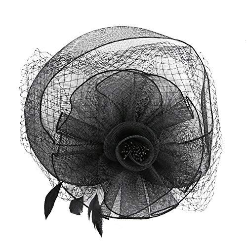 Zylinder Hut Blume Mesh Bänder Federn auf einem Stirnband und einem Clip Party Kopf tragen Zylinder Hut Bankett Kopfschmuck(黑色)