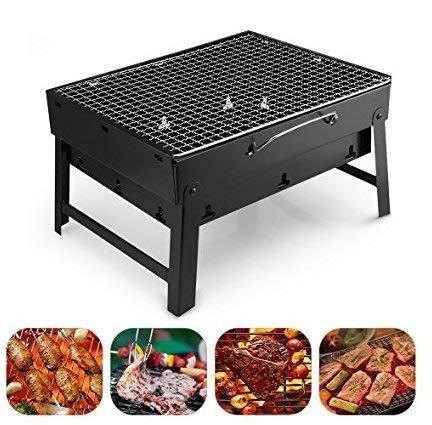 Mbuynow BBQ Barbecue de Table Barbecues de Pique-nique Top Camping En Plein Air Barbecue Charbon en Acier Inoxydable Pliable Four Grille de Cuisson Pour 3-5 Personnes ( 38*27*20cm )