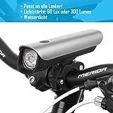 LED Fahrradbeleuchtung Set für ALLE Lenker passend und nach StVZO zugelassen mit Hochleistungs CREE-LEDs und Samsung Li-Ionen Akku ( ultrahelle 300 Lumen, Wasserdicht IPX4, hält bis zu 8 Stunden ) - 2