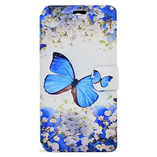 Wiko U Feel Lite Hülle, Chreey Wallet Case Handy Schutzhülle Flip Cover PU Ledertasche Ultradünnes Klapphülle mit Kartenfach und Ständer Handyhülle - Blauer Schmetterling