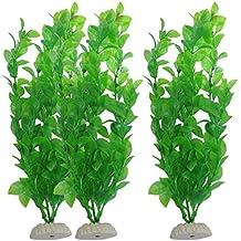 """WalshK 3 piezas de acuario de peces de tanque Plantas artificiales de plástico verde 10.6 """"de altura"""