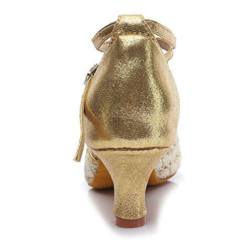 HROYL Donna I5-18185 Sintetico Scarpe da ballo latino 5CM Oro