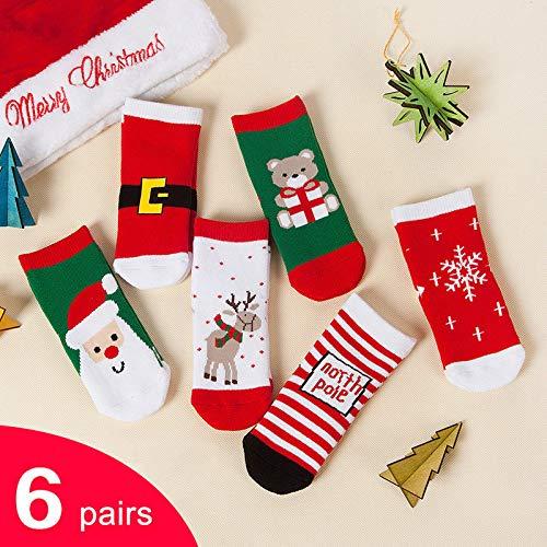 Ohyoulive 6 Pairs Baby Boys Girls Student Cartoon Cotton Breathable Mid Calf Socks Tube Socks New Christmas Socks Combed Cotton Thickening Children's Socks Baby Socks 2019 Santa's Gift Storage -