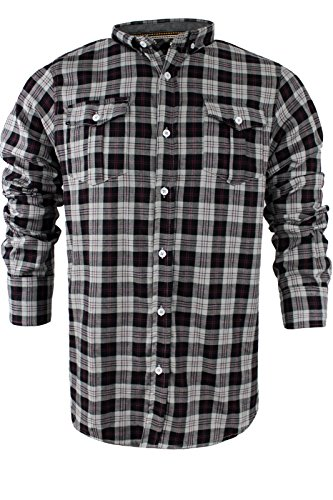 Brave Soul - Chemise casual - Avec col - Manches Longues - Homme Cone | Silver Grey Wine Combo