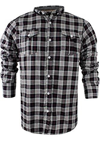 Brave Soul da uomo a maniche lunghe in flanella di cotone check Lumberjack S-XL Silver | Grey | Black | Wine