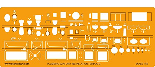 stencil-template-plumbing-installation-metric-150-to-be-used-with-technical-drawing-pens-and-technic