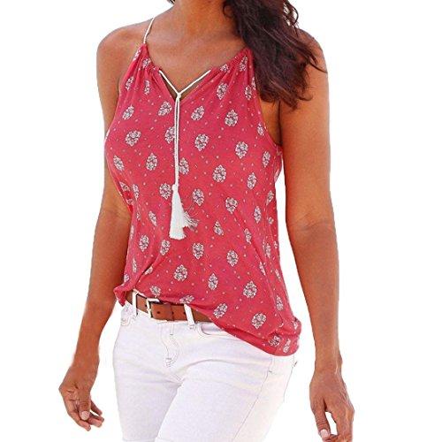 QUINTRA Frauen-Sommer-Druck-Sleeveless Weste-Hemd-Trägershirts Blusen-T-Shirt (L, Hot Pink) (Blumen-seide Bauer-spitze)