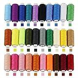 BUZIFU 30 Pezzi Filo da Cucito in Poliestere Bobina di Filo Multicolore Filo da Ricamo Resistente per Cucire a Macchina e Cucire a Mano per Fai da Te