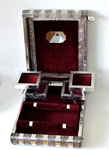 Large Indian Style Silber geprägt Metall Locking Maroon Schmuck Box – BNIB