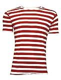 Men's Déguisement rayé rouge et blanc rayé T-Shirt à col rond