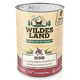 Wildes Land | Nr. 5 Rind | 6 x 800 g | mit Süßkartoffeln, Heidelbeeren, Wildkräutern & Distelöl | Glutenfrei | Extra viel Fleisch | Nassfutter für alle Hunderassen | Beste Akzeptanz und Verträglichkeit | Rohstoffe aus der Lebensmittelproduktion