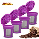 4 Pack Reusable K Cups for Keurig 2.0 & 1.0 Brewers Universal Fit Refillable Single Cup Coffee Filters Stainless Steel Mesh Filter (Purple)